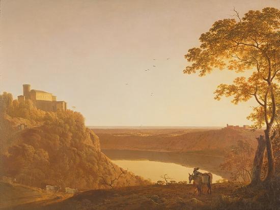 joseph-wright-of-derby-lake-nemi-at-sunset-c-1790