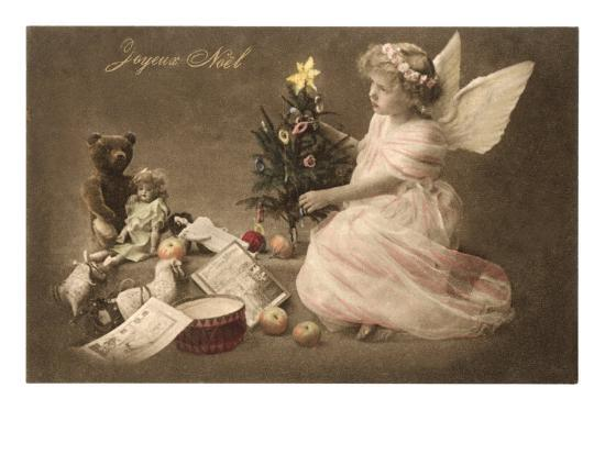 joyeux noel angel with toys and tree art print at. Black Bedroom Furniture Sets. Home Design Ideas