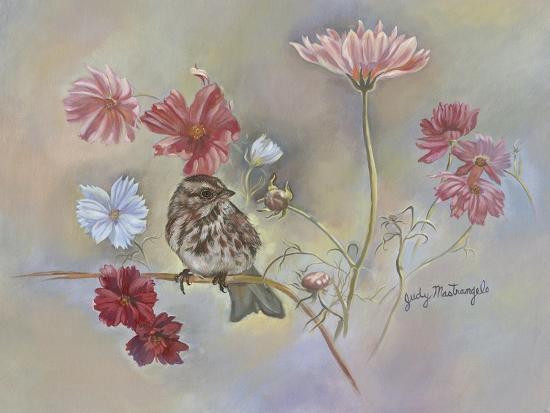 judy-mastrangelo-sparrow-in-cosmos-flowers