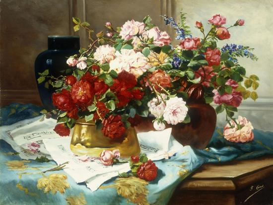 jules-etienne-carot-still-life-with-flowers-and-sheet-music