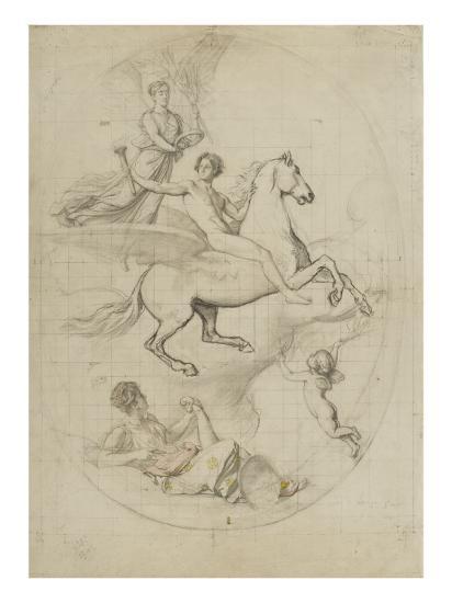 un jeune homme nu sur un cheval ail couronn par une femme ail e giclee print by jules richomme. Black Bedroom Furniture Sets. Home Design Ideas