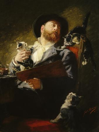 julius-adam-entre-nous-self-portrait-with-cats-1911