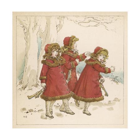 kate-greenaway-three-girls-in-snow-1900