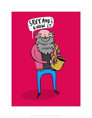 katie-abey-saxy-and-i-know-it-katie-abey-cartoon-print