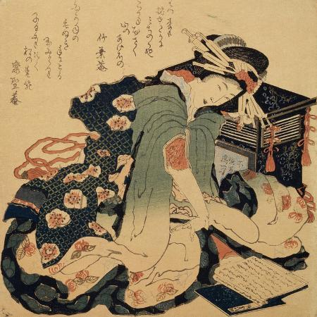 katsushika-hokusai-reading-c1822