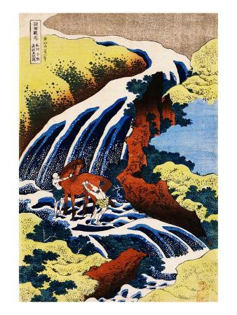 katsushika-hokusai-yoshino-waterfall-yoshitsune-washing-his-horse-from-the-series-a-journey-to-the-waterfalls-of-all