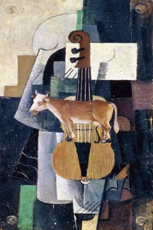 kazimir-severinovich-malevich-the-cow-and-the-violin-1913