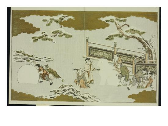 kitagawa-utamaro-children-making-a-snow-shishi-and-rolling-a-snowball-from-the-silver-world