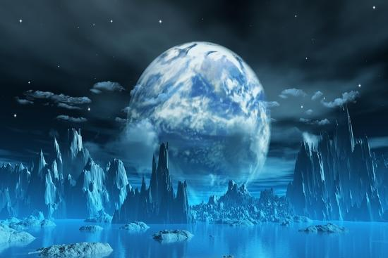 kjpargeter-3d-render-of-a-surreal-ice-planet-with-earth-in-the-sky