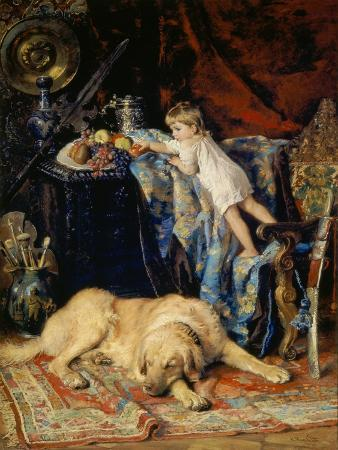 konstantin-jegor-makovskij-in-the-studio-of-the-artist-child-at-fruibowl-and-dog-1881