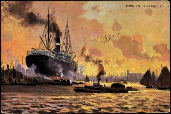 kuenstler-evening-in-harbour-steamer-boats