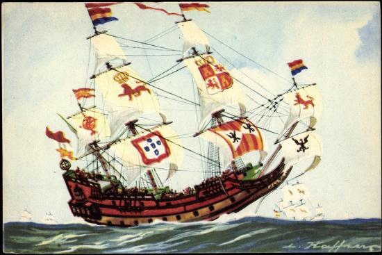 kuenstler-haffner-l-segelschiff-fahnen-galion