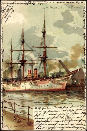 kuenstler-litho-stoewer-w-ausruestungsbecken-segelschiff
