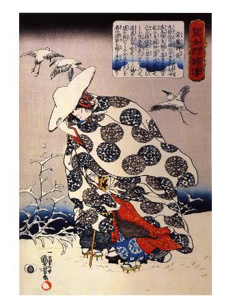 kuniyoshi-utagawa-tokiwa-gozen-with-her-three-children-in-the-snow