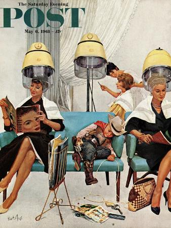 kurt-ard-cowboy-asleep-in-beauty-salon-saturday-evening-post-cover-may-6-1961