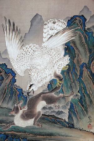 kyosai-kawanabe-a-wolf-attacked-by-white-eagle