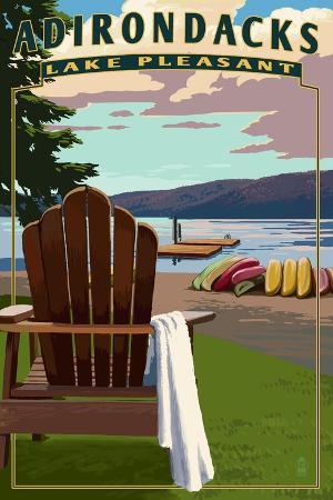 lantern-press-adirondack-mountains-new-york-lake-pleasant-adirondack-chair