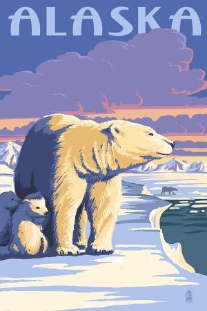 lantern-press-alaska-polar-bear-at-sunrise