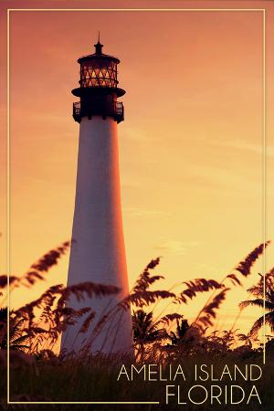 lantern-press-amelia-island-florida-lighthouse-and-seagrass