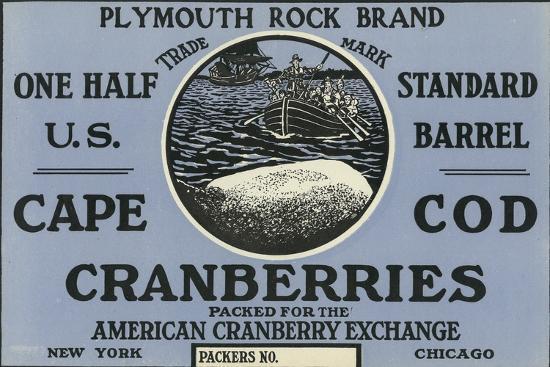 lantern-press-cape-cod-massachusetts-plymouth-rock-brand-cranberry-label