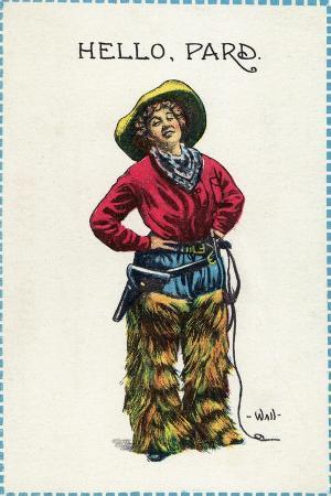 lantern-press-comic-cartoon-cowgirl-saying-hello-pard