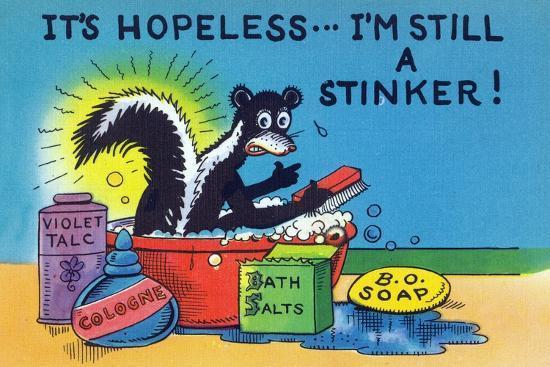 lantern-press-comic-cartoon-skunk-bathing-it-s-hopeless-i-m-still-a-stinker