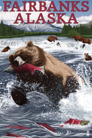lantern-press-grizzly-fishing-salmon-fairbanks-ak