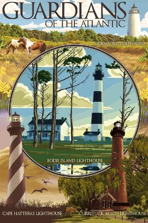 lantern-press-guardians-of-the-atlantic-lighthouses-outer-banks-north-carolina
