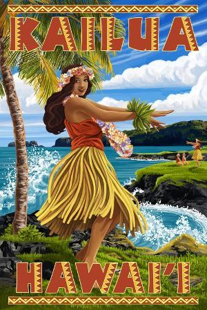 lantern-press-hawaii-hula-girl-on-coast-kailua-hawaii