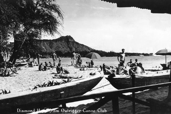 lantern-press-hawaii-o-ahu-island-diamond-head-from-outrigger-canoe-club