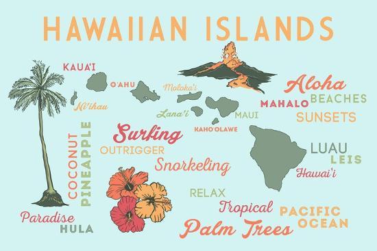 lantern-press-hawaiian-islands-typography-and-icons