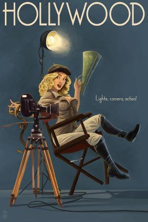 lantern-press-hollywood-california-directing-pinup-girl