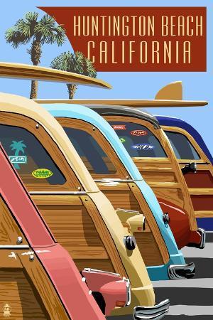 lantern-press-huntington-beach-california-woodies-lined-up