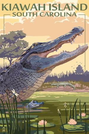 lantern-press-kiawah-island-south-carolina-alligator-scene