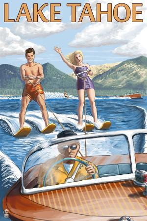lantern-press-lake-tahoe-california-water-skiing-scene