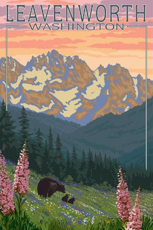 lantern-press-leavenworth-washington-bears-and-spring-flowers