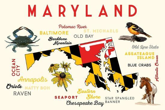 lantern-press-maryland-typography-and-icons-with-black-eyed-susans