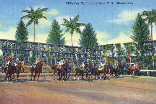lantern-press-miami-florida-hialeah-park-horse-race-start-scene