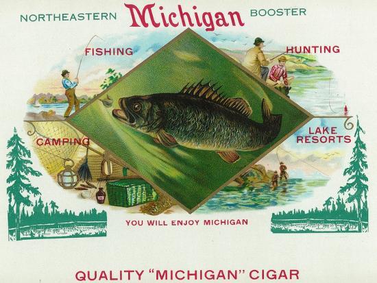 lantern-press-michigan-brand-cigar-box-label