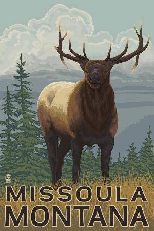 lantern-press-missoula-montana-elk-scene