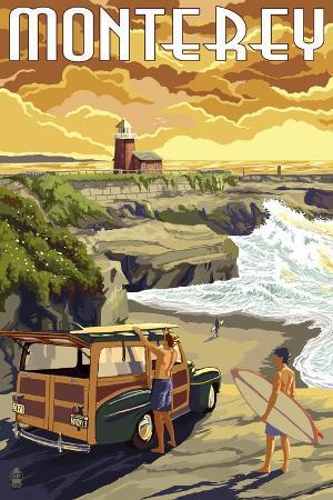 lantern-press-monterey-california-woody-on-beach