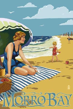 lantern-press-morro-bay-california-beach-scene