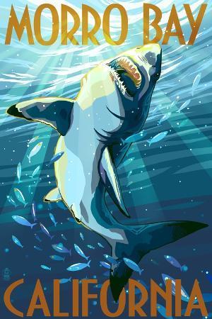 lantern-press-morro-bay-california-stylized-sharks