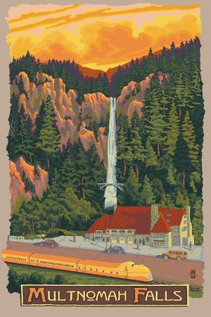 lantern-press-multnomah-falls-view-with-train-c-2009