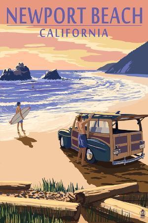 lantern-press-newport-beach-california-woody-on-beach