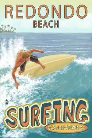 lantern-press-redondo-beach-california-surfer-tropical