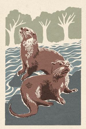 lantern-press-river-otters-woodblock-print