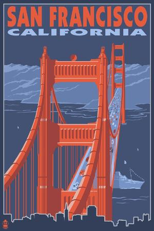 lantern-press-san-francisco-california-golden-gate-bridge