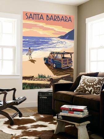 lantern-press-santa-barbara-california-woody-on-beach