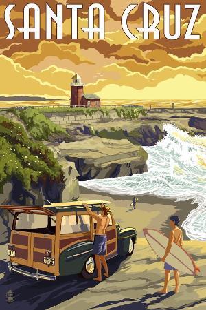 lantern-press-santa-cruz-california-woody-and-lighthouse